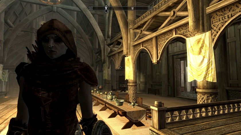 Rayna, my dark elf character in Skyrim.